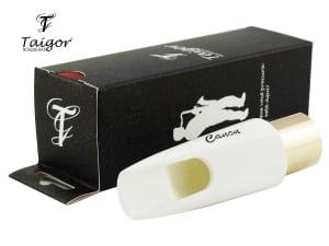Boquilha Taigor Sax Alto Canon Evolution Branca C/ Abraçadeira